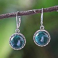 Chrysocolla dangle earrings, 'Pointed Petals' - Thai Sterling Silver and Chrysocolla Dangle Earrings