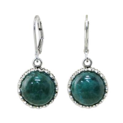 Thai Sterling Silver and Chrysocolla Dangle Earrings