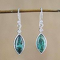 Chrysocolla dangle earrings, 'Angel Dreams' - Rhodium Plated Chrysocolla Dangle Earrings from Thailand