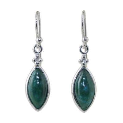 Rhodium Plated Chrysocolla Dangle Earrings from Thailand