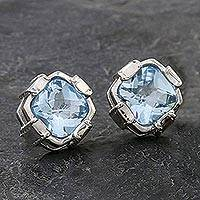 Blue topaz button earrings, 'Peaceful Paradise' - Rhodium Plated Blue Topaz Button Earrings from Thailand