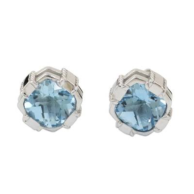 Rhodium Plated Blue Topaz Button Earrings from Thailand
