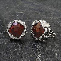 Garnet button earrings, 'Peaceful Paradise' - Rhodium Plated Garnet Button Earrings from Thailand