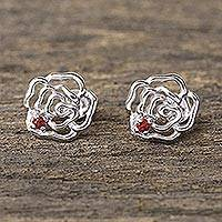 Garnet stud earrings, 'Radiant Roses' - Handcrafted Rhodium on Sterling Silver Garnet Stud Earrings