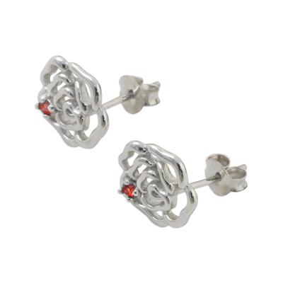 Handcrafted Rhodium on Sterling Silver Garnet Stud Earrings