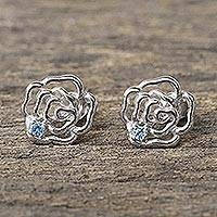 Blue topaz stud earrings, 'Radiant Roses' - Rhodium Plated Blue Topaz Stud Earrings from Thailand