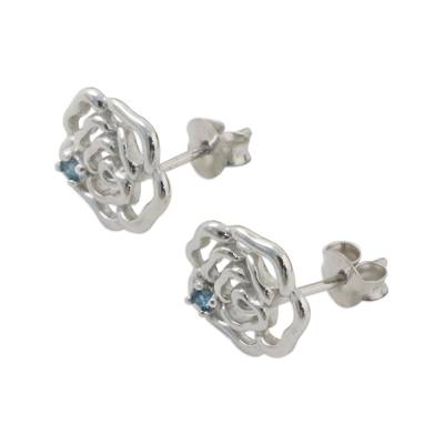 Rhodium Plated Blue Topaz Stud Earrings from Thailand
