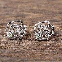 Peridot stud earrings, 'Radiant Roses' - Rhodium Plated Peridot Stud Earrings from Thailand