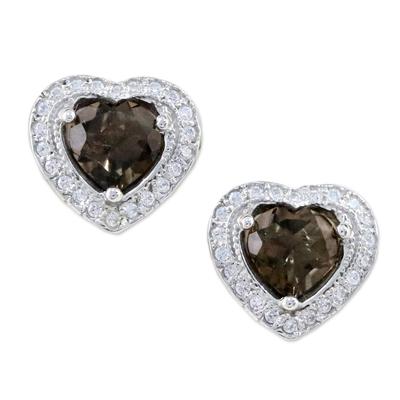Smoky Quartz and Cubic Zirconia Heart Shaped Stud Earrings