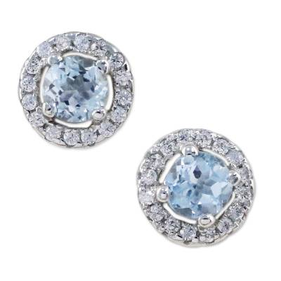 Blue Topaz and Cubic Zirconia Stud Earrings from Thailand