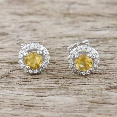 Novica Citrine stud earrings, Brilliant Splendor