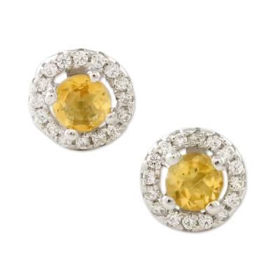 Citrine and Cubic Zirconia Stud Earrings from Thailand