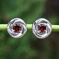 Garnet stud earrings, 'Red Cyclones' - Thai Rhodium Plated Sterling Silver Garnet Stud Earrings