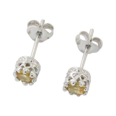 Rhodium Plated Citrine Stud Earrings from Thailand