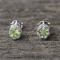 Peridot stud earrings, 'Brilliant Splendor' - Rhodium Plated Peridot Stud Earrings from Thailand
