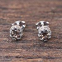 Smoky quartz stud earrings, 'Brilliant Splendor' - Rhodium Plated Smoky Quartz Stud Earrings from Thailand