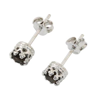 Rhodium Plated Smoky Quartz Stud Earrings from Thailand