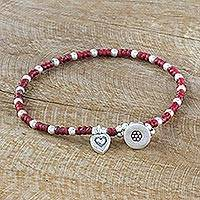 Silver beaded bracelet, 'Heart Veins' - Karen Silver Beaded Bracelet with Heart Charm from Thailand