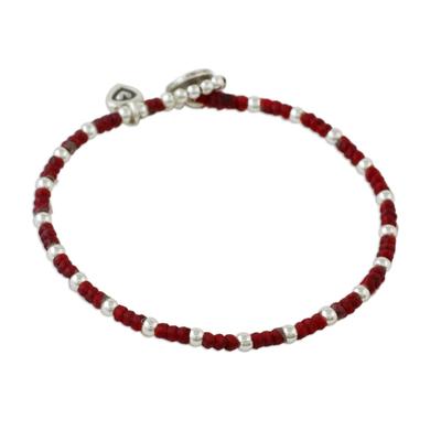 Silver beaded bracelet, 'Hill Tribe Heart' - Karen Silver Beaded Bracelet with Heart Charm from Thailand