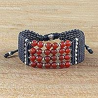 Carnelian beaded bracelet, 'Fiery Glimmer' - Carnelian and Karen Silver Beaded Bracelet from Thailand