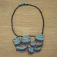 Lapis lazuli and calcite pendant necklace,