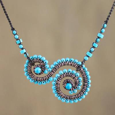 Calcite pendant necklace, 'Dainty Curls' - Beaded Calcite Spiral Pendant Necklace from Thailand