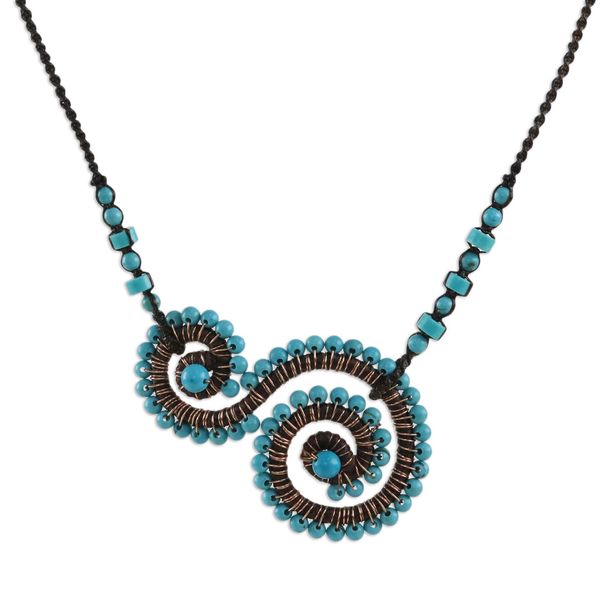 Blue Calcite Spiral Pendant