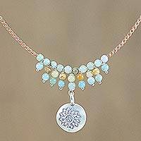 Amazonite pendant necklace, 'Romantic Whisper' - Floral Silver and Amazonite Pendant Necklace from Thailand