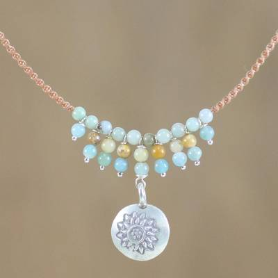 d4c502d13 UNICEF Market | Floral Silver and Amazonite Pendant Necklace from Thailand  - Romantic Whisper
