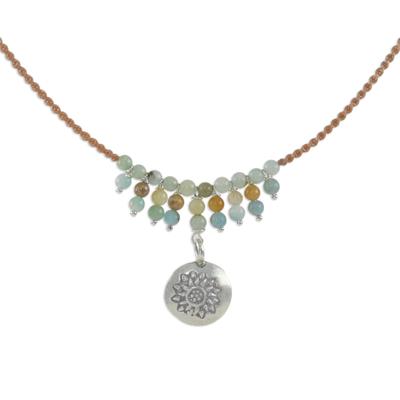 Amazonite pendant necklace, 'Romantic Whisper' - Floral Silver and Amazonite Pendant Necklace from Thailand