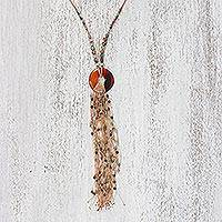Carnelian statement necklace, 'Bohemian Breeze' - Carnelian and Agate Statement Necklace from Thailand