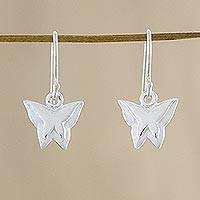 Sterling silver dangle earrings, 'Shining Butterflies' - Sterling Silver Butterfly Dangle Earrings from Thailand