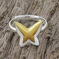 Gold accent sterling silver mid-finger ring, 'Shining Butterfly' - Gold Accent Sterling Silver Butterfly Ring from Thailand