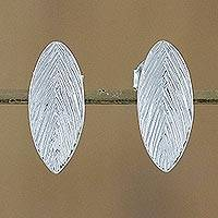 Sterling silver drop earrings, 'Natural Shimmer' - Sterling Silver Leaf Drop Earrings from Thailand