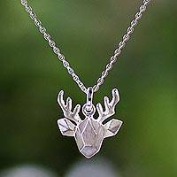 Sterling silver pendant necklace, 'Geometric Deer' - Sterling Silver Deer Pendant Necklace from Thailand