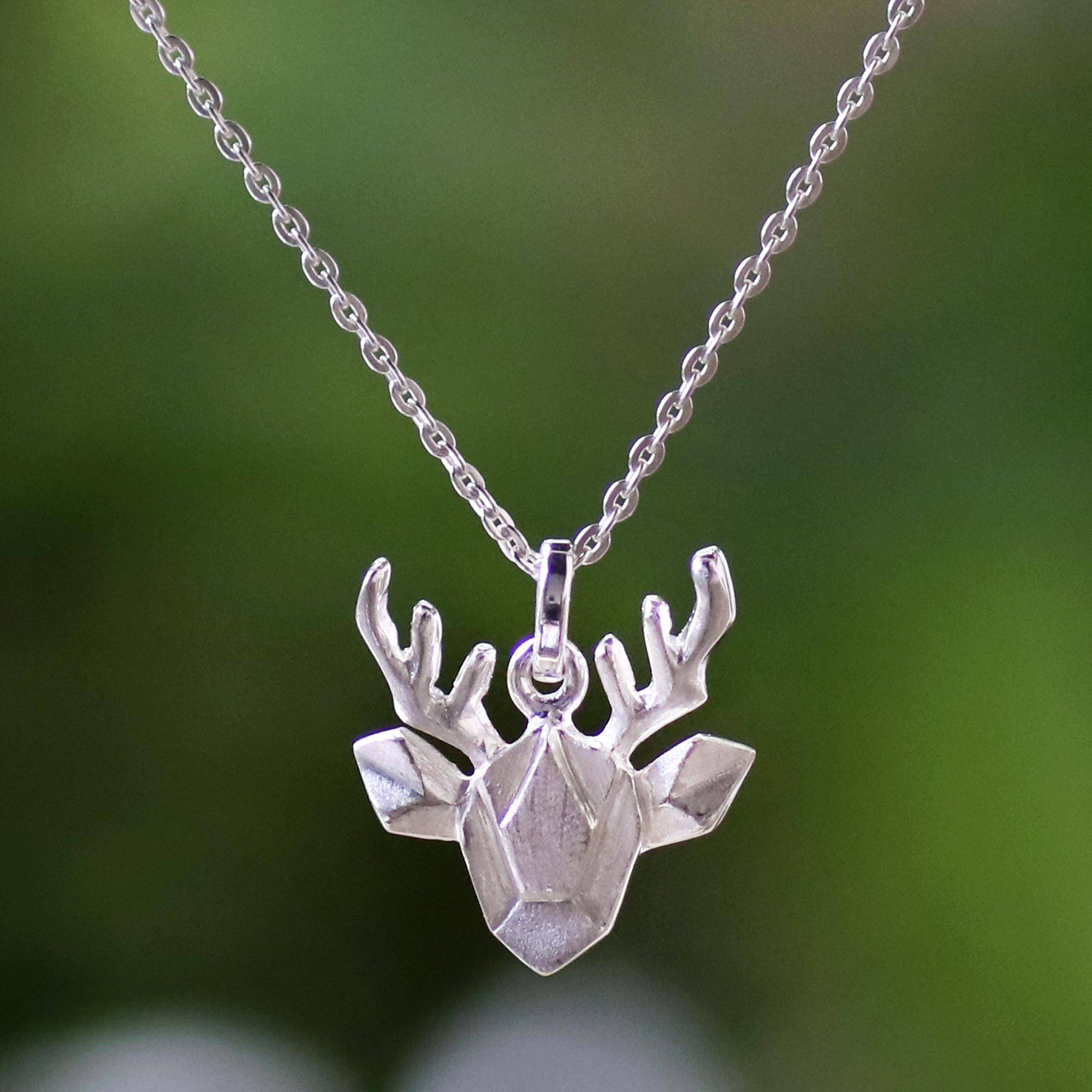 kind chain silver one sterling online jewelry shop of new origami on printed pendant a deer necklace