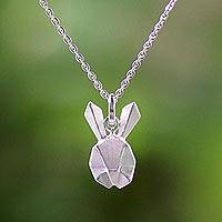 Sterling silver pendant necklace, 'Geometric Rabbit' - Origami Style Rabbit Pendant in a Sterling Silver Necklace