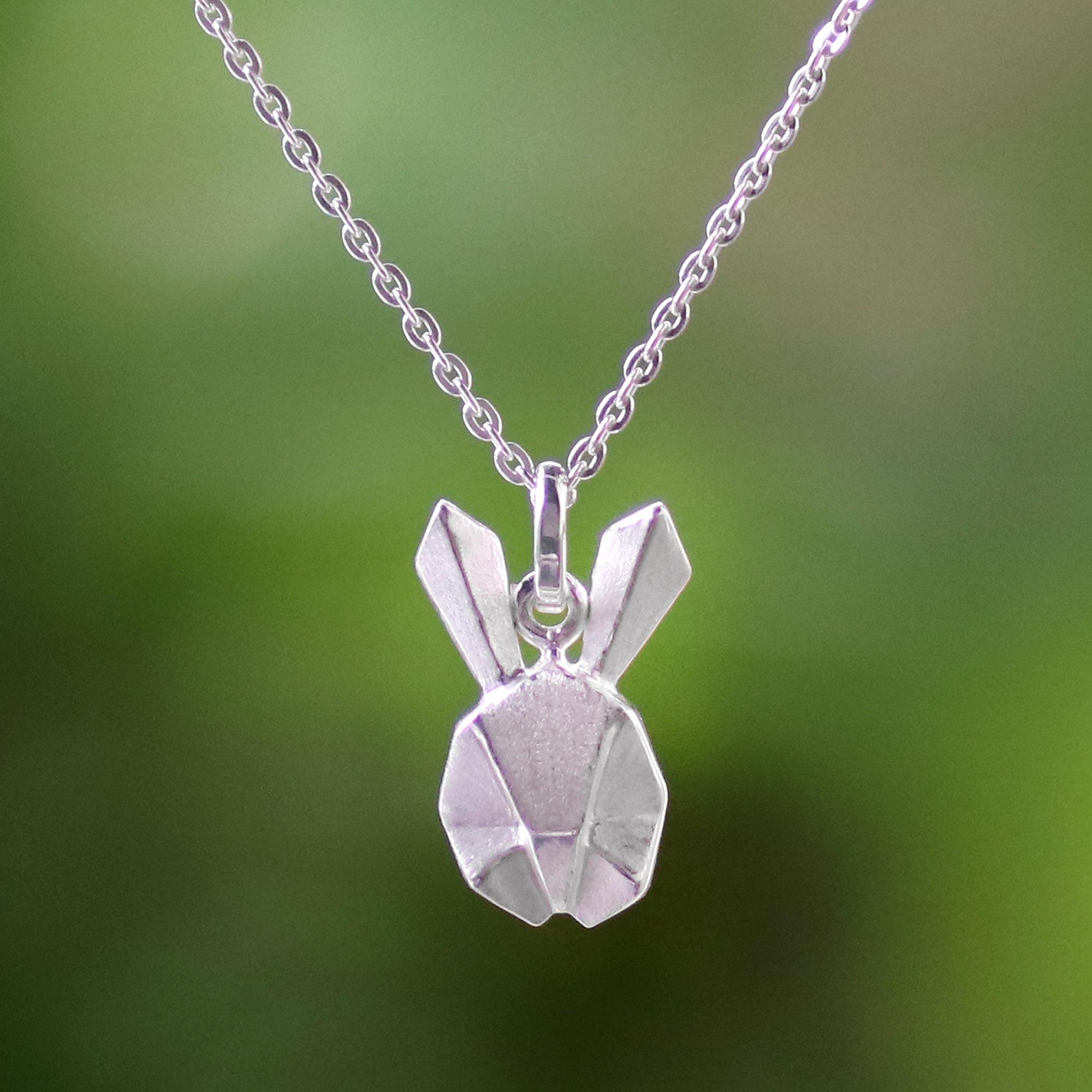 5 pieces silver origami bunnies pendant