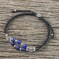Lapis lazuli wristband bracelet, 'Karen Sea' - Lapis Lazuli and Karen Silver Bracelet from Thailand