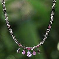 Multi-gemstone pendant necklace, 'Luxurious Lavender and Mist' - Smoky Quartz Multi-gemstone Necklace Handcrafted in Thailand