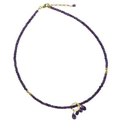 Gold accent amethyst pendant necklace, 'Luxurious Lavender' - Amethyst Beaded Pendant Necklace with Gold Plated Accents