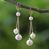 Gold plated cultured pearl dangle earrings, 'Butterfly Clouds' - 18 Kt Gold Plated Freshwater Cultured Pearl Dangle Earrings