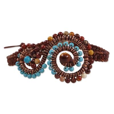 Multi-gemstone pendant bracelet, 'Bohemian Waters' - Multi-Gem and Leather Spiral Pendant Bracelet from Thailand