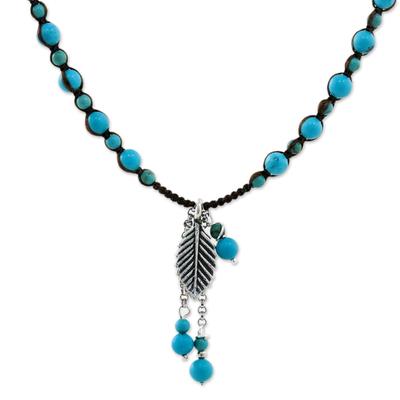Silver pendant necklace, 'Tempestuous Wind' - Karen Silver and Calcite Pendant Necklace from Thailand