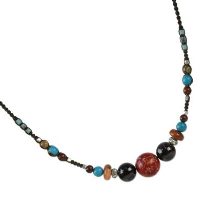 Multi-gemstone beaded necklace, 'Colors of the World' - Multi-Gemstone Beaded Necklace from Thailand