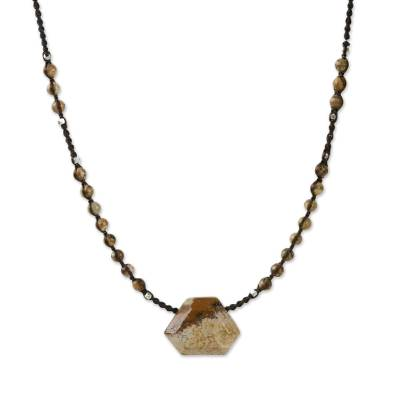 Jasper pendant necklace, 'Wonderful Stone' - Artisan Crafted Jasper Beaded Pendant Necklace from Thailand