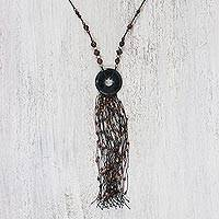 Onyx statement necklace, 'Bohemian Breeze' - Onyx Multi-Gemstone Statement Necklace from Thailand