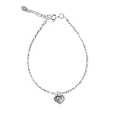 Silver charm bracelet, 'Natural Karen' - 950 Karen Silver Beaded Charm Heart Bracelet from Thailand
