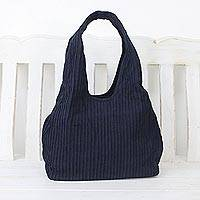 Cotton shoulder bag, 'Thai Texture in Midnight'