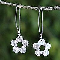 Sterling silver dangle earrings, 'Petite Fig Blossom' - Thai Handcrafted Sterling Silver Petite Flower Earrings